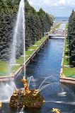 Fountains in the old park. Russia, St. Petersburg Stock Image