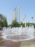 Fountains of Olympic park of Atlanta. The Fountain of Rings is the centerpiece of Centennial Olympic Park Royalty Free Stock Photo