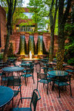 Fountains and outdoor dining area in downtown Lancaster, Pennsyl Royalty Free Stock Image