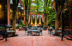 Fountains and outdoor dining area in downtown Lancaster, Pennsyl Stock Photo
