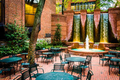 Fountains and outdoor dining area in downtown Lancaster, Pennsyl Stock Photos