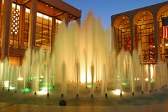 Fountains outside the Lincoln Center, New York stock image