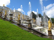 Fountains and palace in Petergoph, Russia Stock Image