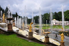 Fountains and palaces of Peterhof. Well-known Big cascade, fountain Samson Stock Images