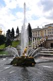 Fountains and palaces of Peterhof. Well-known Big cascade, fountain Samson Royalty Free Stock Photography