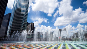 Fountains in Paris. View of fountains in La Defence district, Paris Royalty Free Stock Photo