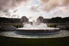 Travel around Europe. Large modern city. Fountains in Paris at the Trocadero square near the Palace of Chaillot. Travel through Europe. Attractions in France royalty free stock image