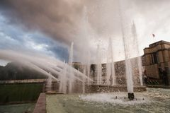 Travel to Europe. Sights of the European city. Fountains in Paris at the Trocadero square near the Palace of Chaillot. Travel through Europe. Attractions in stock photos