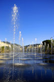 Fountains in the park Green Stream of Espace Jacques Medecin in Nice France. In sunny weather, light plays spurting fountains Stock Photography