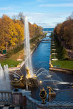 Fountains in the park, Petergof Russia Stock Image