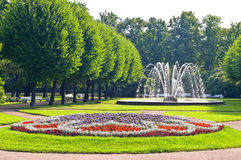 Fountains in park in Saint-Petersburg. Russia stock photography