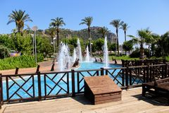 Fountains in the park of the 100th anniversary of Ataturk Alanya, Turkey Royalty Free Stock Images