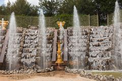 Fountains in the park of Versailles Palace Stock Images