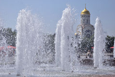 Fountains Park Victory. St. George temple in the background,. Moscow, Russia Royalty Free Stock Photo
