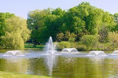 Fountains in the park Royalty Free Stock Image