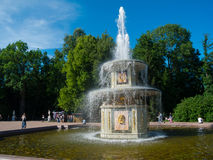 Fountains of Petergof. SAINT PETERSBURG, RUSSIA - JULY 20: Fountains of Petergof on July 20, 2012 in Saint Petersburg, Russia Stock Photos