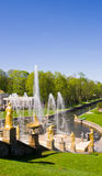 Fountains of Petergof. Petergof Palace is a series of palaces an Royalty Free Stock Photography