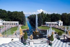 Fountains in Peterhof Royalty Free Stock Photo