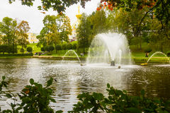 Fountains of Peterhof in autumn Royalty Free Stock Image