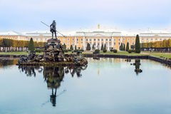 Fountains of Peterhof Palace, St. Petersburg. Fountains Neptuns Carriage of Grand Peterhof Palace in Russia royalty free stock image