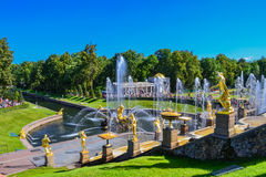 The Fountains Of Peterhof. Park Peterhof in St. Petersburg. The attraction of St. Petersburg and the Leningrad region. Fountains and sculptures of Peterhof stock photos