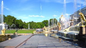 The Fountains of Peterhof, Saint Petersburg, Russia stock footage