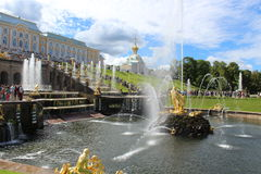 The fountains of Peterhof. In the summer stock image
