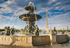 Fountains at Place de la Concord, Paris Royalty Free Stock Images