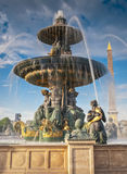 Fountains at Place de la Concord, Paris Stock Photos