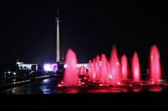 Fountains at Poklonnaya Hill in Moscow at night Royalty Free Stock Photo