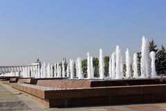 Fountains at Poklonnaya Hill in Moscow. On a sunny day Royalty Free Stock Photos