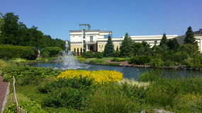 Fountains in the pond. Fountain in the pond on a background of luxury home,water, trees, sky stock photo