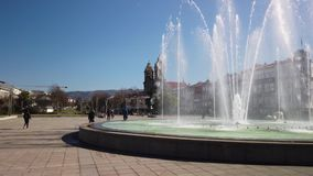 Fountains at Praca da Republica in Braga. BRAGA, PORTUGAL - CIRCA FEBRUARY 2019: Fountains at Medieval Republic Square or Praca da Republica known as Arcade stock video