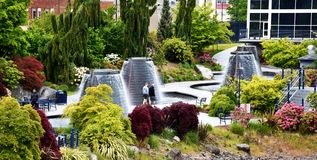Harborside Fountain Park, Bremerton, WA royalty free stock photography
