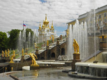 Fountains in Russian palace Peterhof Stock Images