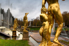 Fountains in Saint Petersburg. Russia. Fountains in Saint petersburg, Petergof royalty free stock photos