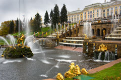 Fountains in Saint petersburg. Russia, Peterhof stock photo