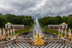 Fountains and sculptures of the Grand Cascade of the Peterhof Palace. Russia stock photo