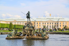Fountains and sculptures in upper park of Peterhof Stock Images