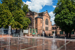 Fountains in Selestat town center, Alsace, France Stock Photo