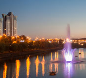 Fountains with soundlights on Rusanivska embankment in Kiev Royalty Free Stock Images