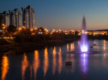 Fountains with soundlights on Rusanivska embankment in Kiev Royalty Free Stock Photos