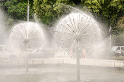 The fountains spray water in a park in Lviv Royalty Free Stock Images