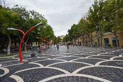 Fountains square in Baku city, red lamps Royalty Free Stock Photography