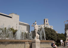 Fountains in the square of Spain in Barcelona Stock Photography