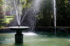 Fountains. Stone fountains in water basin Stock Photo