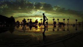 Fountains and sunset Batumi Seafront Boulevard stock video footage