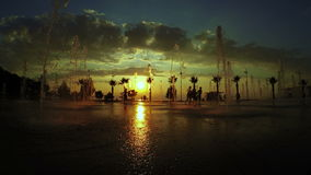 Fountains and sunset Batumi Seafront Boulevard stock footage