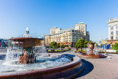 Fountains in the Theater square of Moscow Stock Photo