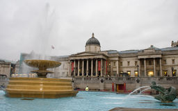 Fountains in Trafalgar Square and National Gallery Stock Photography